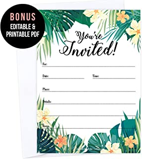 Set of 25 Fill-In Blank Tropical Party Invitations with Envelope, Hawaiian Wedding Invitation, Wedding Rehearsal Party, Engagement Party, Bachelorette, Bachelor, Birthday, Reception Party, Anniversary