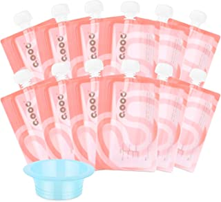 QOOC Reusable Baby Food Storage Pouch, Set of 12 Reusable 7 oz Double Zipper Pouches and 1 Easy-Filled Funnel