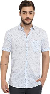 Mufti Men's Floral Slim Fit Casual Shirt (MFS-9756_Multicolor_Large)
