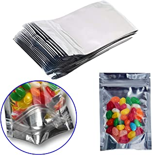 100 Pack Resealable Mylar Bags-Smell Proof Pouch Aluminum Foil Packaging Plastic Ziplock Bag,Food Safe Small Mylar Storage Bags For Bulk Candy,Cookies,Snack Food,Jewelry,2.8x5.1inch(Clear Silver)