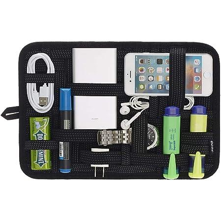JOTO Travel Gear Management Organise Le Sac pour l'électronique Accessoires Outils Disque Dur Carte mémoire Flash Drive Câbles Chargeur Cosmetics Brush Kit de Soins personnels - Large (Noir)
