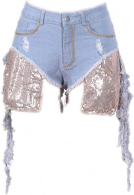 Diamond Sequin Denim Shorts Women Vintage Ripped Hole Fringe High Waist Jean Shorts Streetwear Hip Hop Jeans Shorts