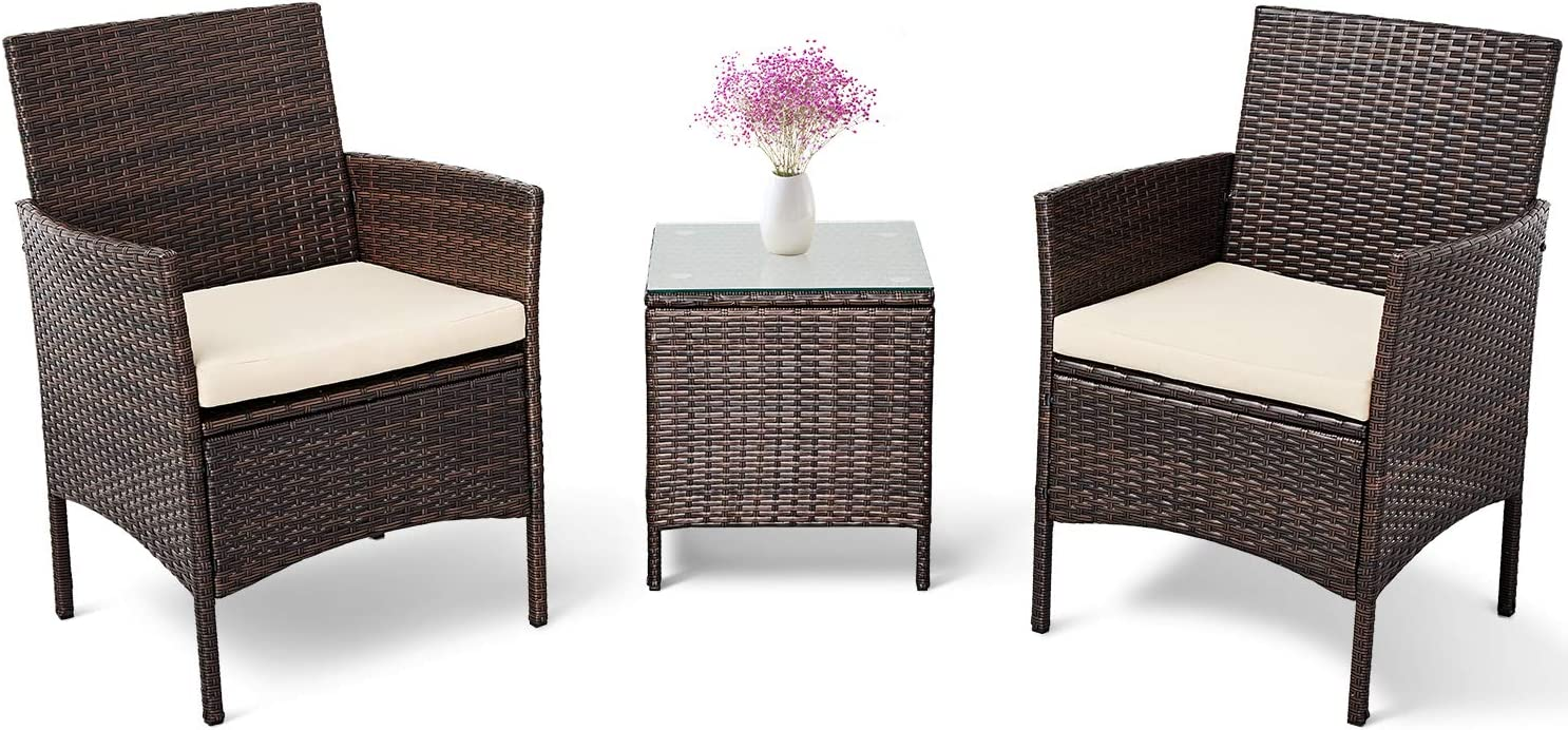 Patiomore 3 Pieces Outdoor Bistro Brown Set Baltimore Mall Ch Wicker Direct sale of manufacturer Rattan