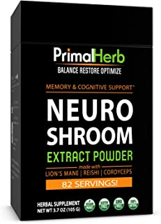Brain Supplement for Focus, Energy, Memory & Clarity | Nootropics Stack | by Primal Herb | Herbal Extract Powder with Lion...