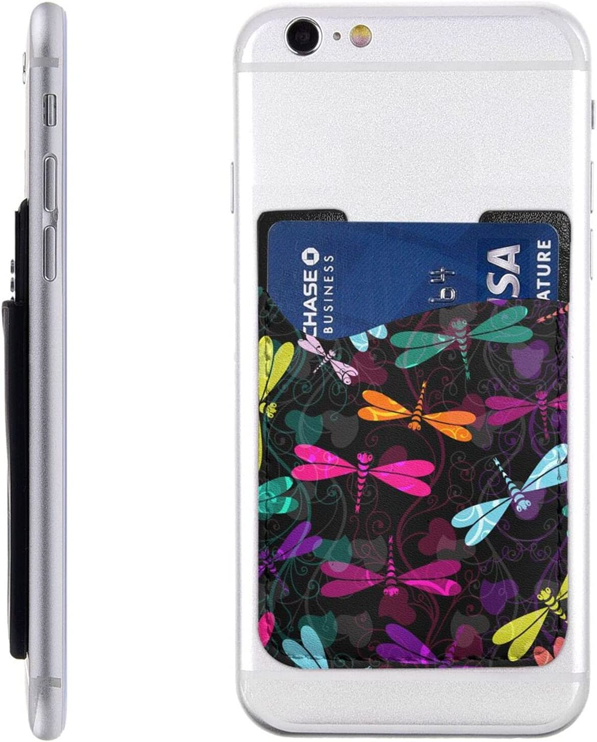 Colorful Dragonfly Phone Card Holder,Pu Leather Credit Card Wallet Phone Case Pouch Sleeve Pocket for All Smartphones