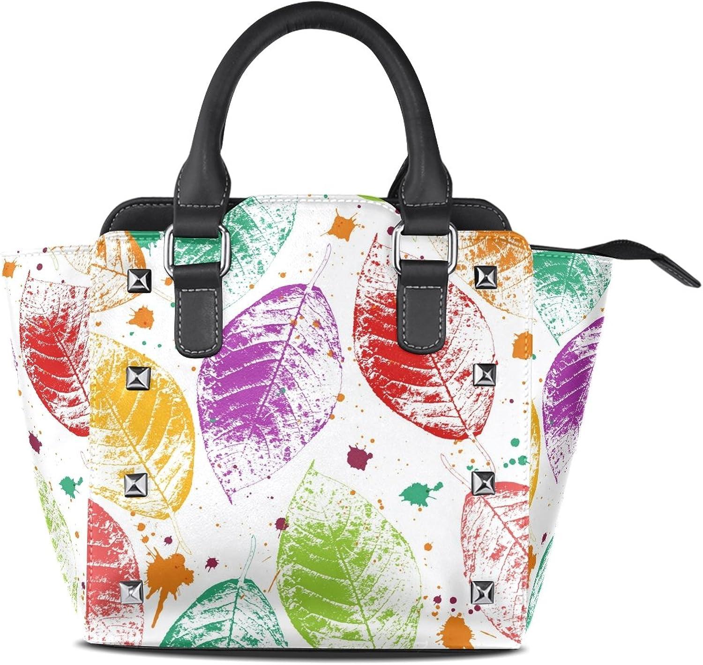 My Little Nest Women's Top Handle Satchel Handbag Multicolor Autumn Leaves and Blots Ladies PU Leather Shoulder Bag Crossbody Bag