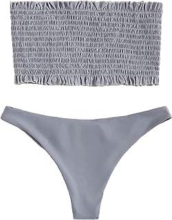 afedcf1505039 DIDK Women s Ruched Bandeau Bikini Set