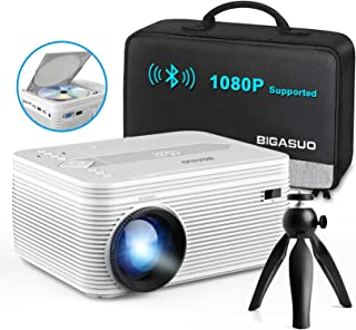 BIGASUO [2021 Upgrade] Full HD Bluetooth Projector with Built-in DVD Player, Portable Mini Projector Compatible with Phon...