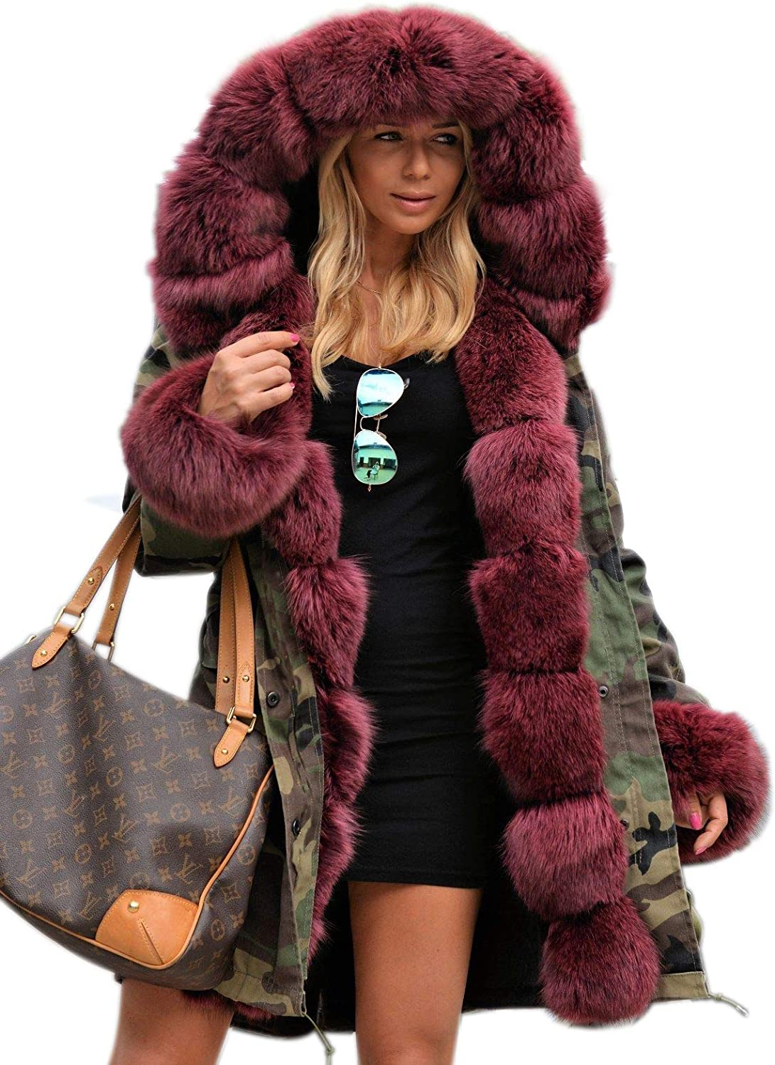Tiptupu Womens Faux Fur Collar Camouflage Coats Parkas Winter Long Jackets Military Anorak with Pockets