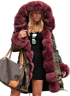 Aox Women Hood Coat Faux Fur Thicken Lined Overcoat Winter Camo Plus Size Jacket Snow Parka Outwear