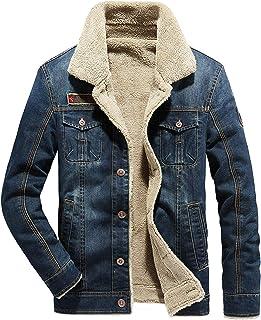 جاكيت Fuwenni رجالي من الصوف الصناعي مبطن من قماش الدنيم معطف شتوي من قماش الجينز