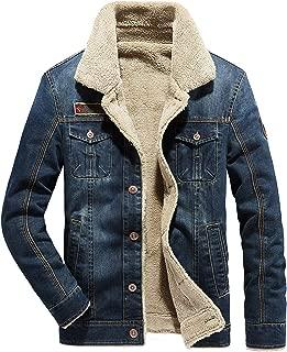 Men's Sherpa Fleece Lined Denim Trucker Jacket Winter Jean Jacket Cowboy Coat