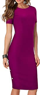 HOMEYEE Women Vintage Round Neck Business Party Sheath Dress with Buttons B499