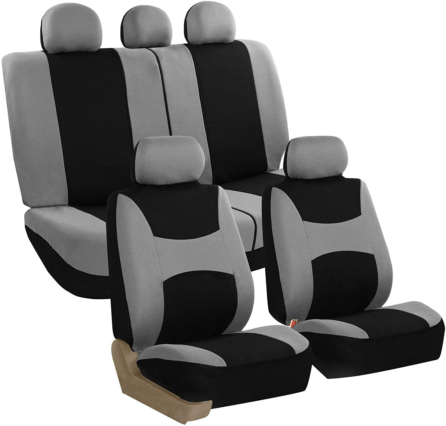 FH Group - FB030GRAYBLACK115-SEAT FB030GRAYBLACK115 full seat cover (Side Airbag Compatible with Split Bench Gray/Black)