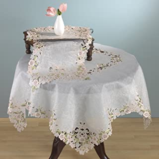 TCC Embroidered and Cutwork Design Tablecloth and Tablecloth. 100% Polyester Woven. Off-White, 54 Inch Square. One Piece