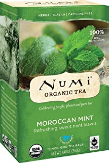 Numi Organic Tea Moroccan Mint, 18 Count Box of Tea Bags (Pack of 3) Herbal Teasan (Packaging May Vary)