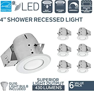 Nadair 4in Shower Recessed Lighting Kit (x6) Dimmable LED Downlight Bathroom Spotlights, GU10 550 Lumens Bulbs (50 Watts Equivalent) Included, 6-Pack White Color