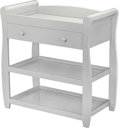 Babymore Sleigh Changer with Drawer  Pebble Grey
