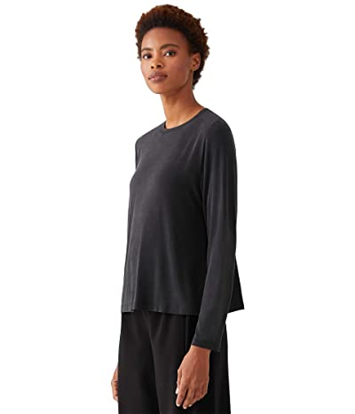 Eileen Fisher Crew Neck Long Sleeve Top (Black) Women