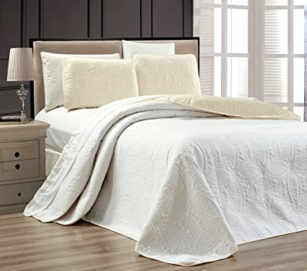 """Oversize """"Ornato-Colcha Reversible Embossed sobrecama Set individual, Twin XL, Full, Queen, king y cal king cama Cover, 1"""