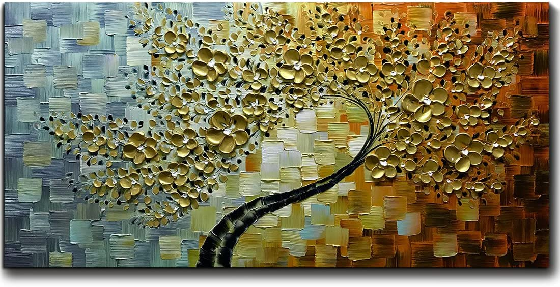 V-inspire Art 24x48 New York Mall Inch Modern Lucky Hand Painted Abstract Regular store Tree