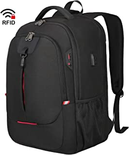 Laptop Backpack, 17 Inch Travel Business Backpack for Men/Women with USB Charging Port, Water Resistant Anti Theft Stylish College School Backpack Daypack for 17.3 Inch Notebook - Black