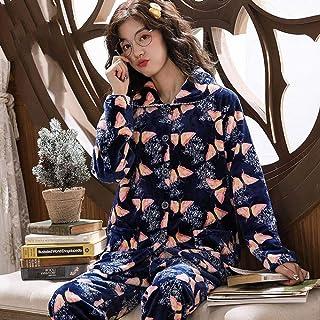 Conjunto De Pijamas Para Mujeres,Invierno Mariposa Azul Pijama Set Espesante Caliente Suave Franela Ropa De Dormir Para Las Mujeres Botones De Manga Larga Más Tamaño De Pijama Suelto Ropa De Hogar M
