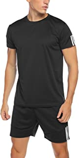 Aibrou Men's Casual Tracksuit Short Sleeve T-Shirts and Shorts Summer Activewear Athletic Sports Suit Set