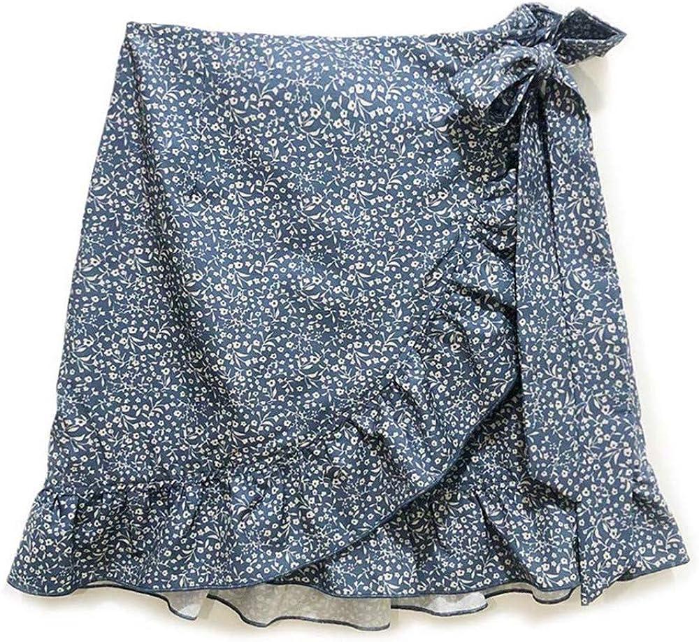 Ruffled Floral Irregular Skirts Bow Zipper A-line Asymmetric Mini Skirts Casual