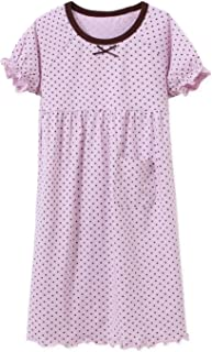 Image of Soft Short Sleeve Purple Polka Dot Nightgown for Girls - See More Colors