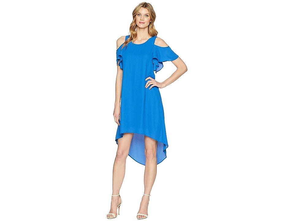 Karen Kane Cold Shoulder High-Low Dress (Cobalt) Women