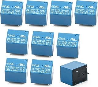 FidgetKute SRD-05VDC-SL-C 5Pin Power Relay 5V DC SPDT PCB Type, Pack of 10