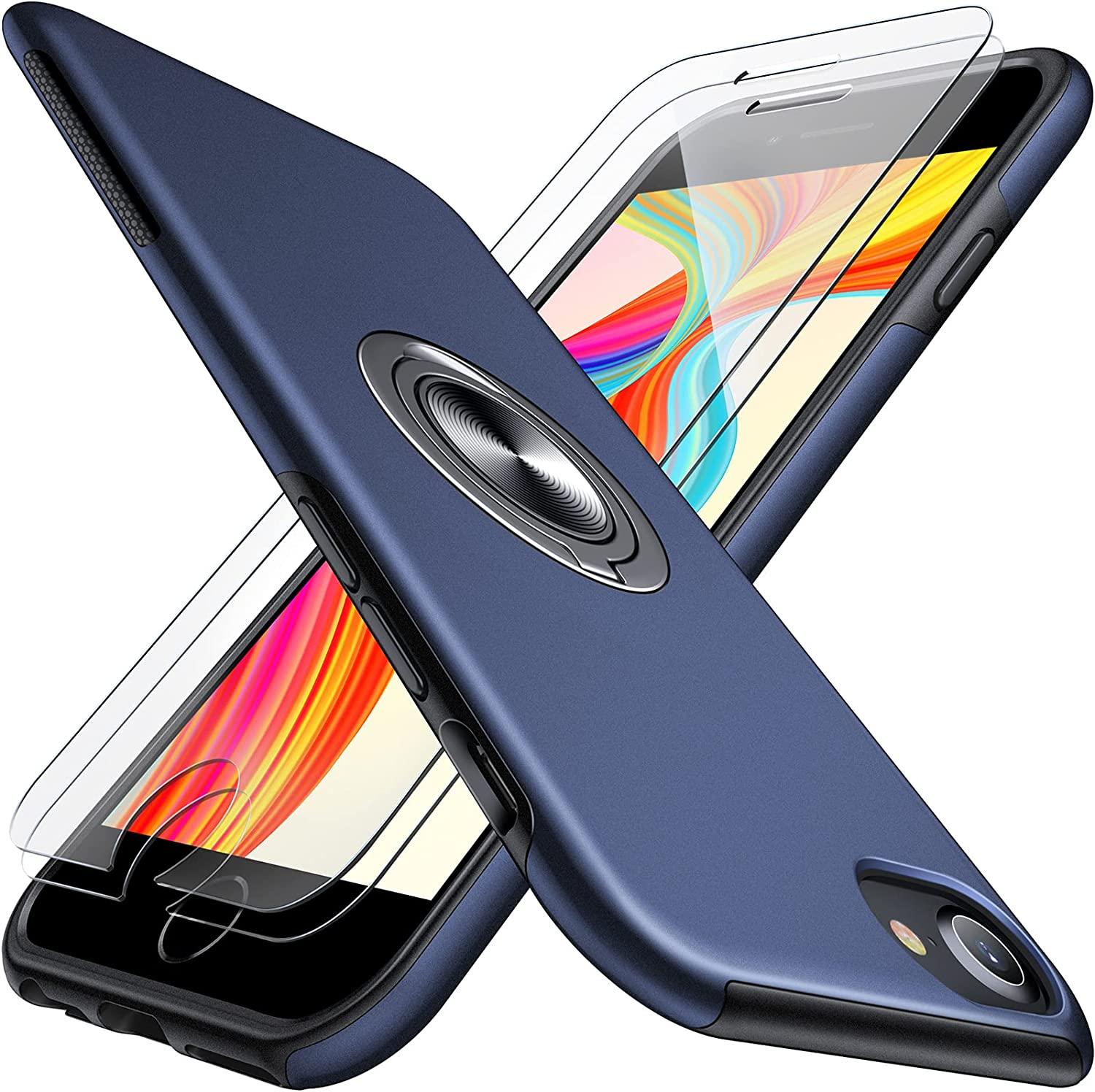 JAME for iPhone SE 2020 Case, iPhone 8 case, Ultra Slim iPhone 7 Case with 2Pcs Tempered Glass Screen Protector, with Invisible Ring Stand, Soft Silicone Full Body Shockproof Phone Case, 4.7