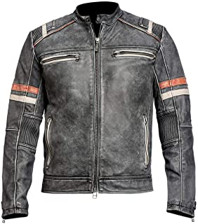 Men's Vintage Retro Biker Motorcycle Stylish Genuine Leather Jacket   Motorcycle Distressed Cafe Racer Leather Jacket