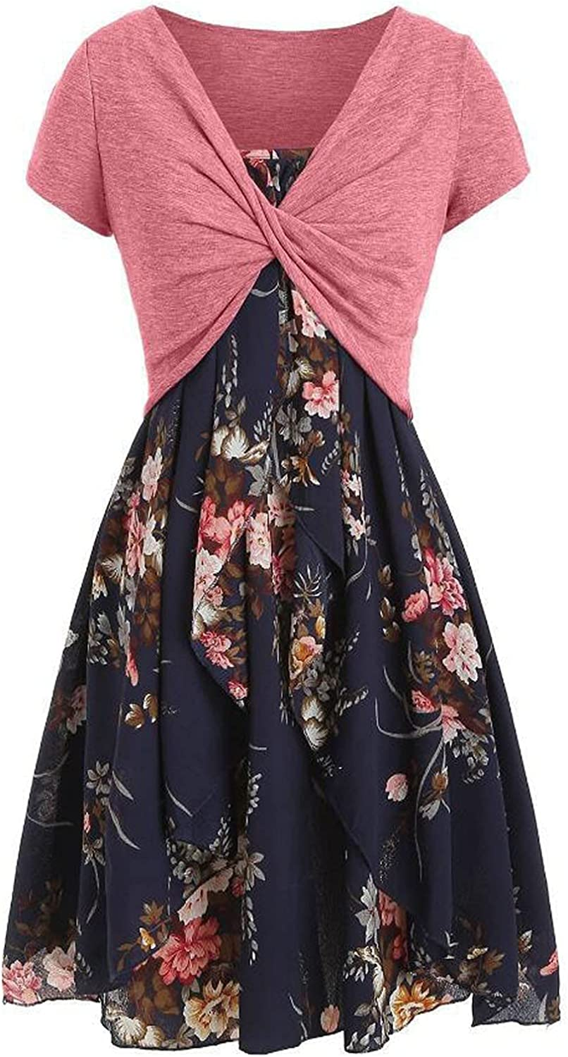 Front Bow Self-Tie Dress for Women Floral Print Tops High Waisted String Blouses Short Sleeve Tunic Long Shawl Skirt