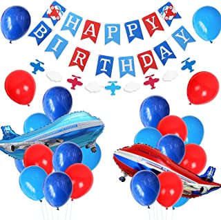 JOYMEMO Plane Party Supplies for Boys - Airplane Birthday Party Decorations with Happy Birthday Banner, Foil Balloon, Airplane and Cloud Garland