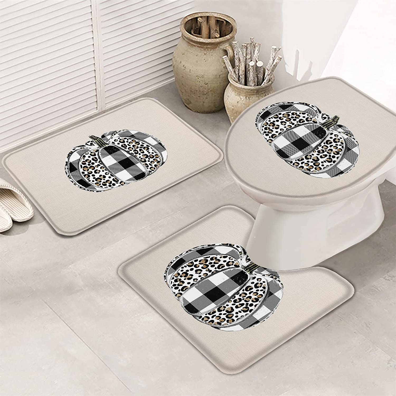 3 Piece Set Bathroom Rugs for Pum price Leopard Farmhouse Cash special price Plaid Black