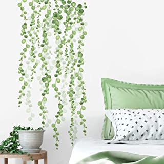 RoomMates RMK3903SCS String of Pearls Vine Peel and Stick Wall Decals, 2 Sheets at 9 Inches x 36.5 Inches, Green, White