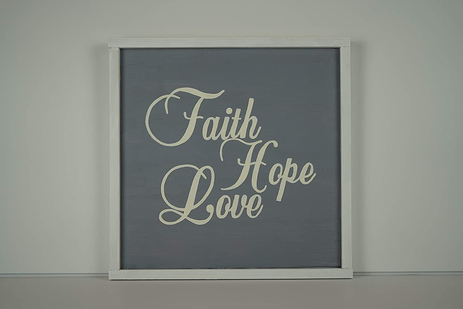 Wooden Sign NEW before selling ☆ Faith Hope Love Home Wa White Deluxe Grey Decor