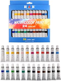 H & B 24 Colors Watercolor Paint Set, Aluminum Tubes 12ml,Professional Art Painting Watercolor Paint, Non Toxic & Safe, Premium Quality Painting Kit Perfect Gift for Artists, Students, Beginners, Kids