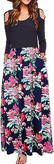 Sobrisah Women's Casual Cold Shoulder Long Sleeve Floral Print Patchwork Maxi Long Dress