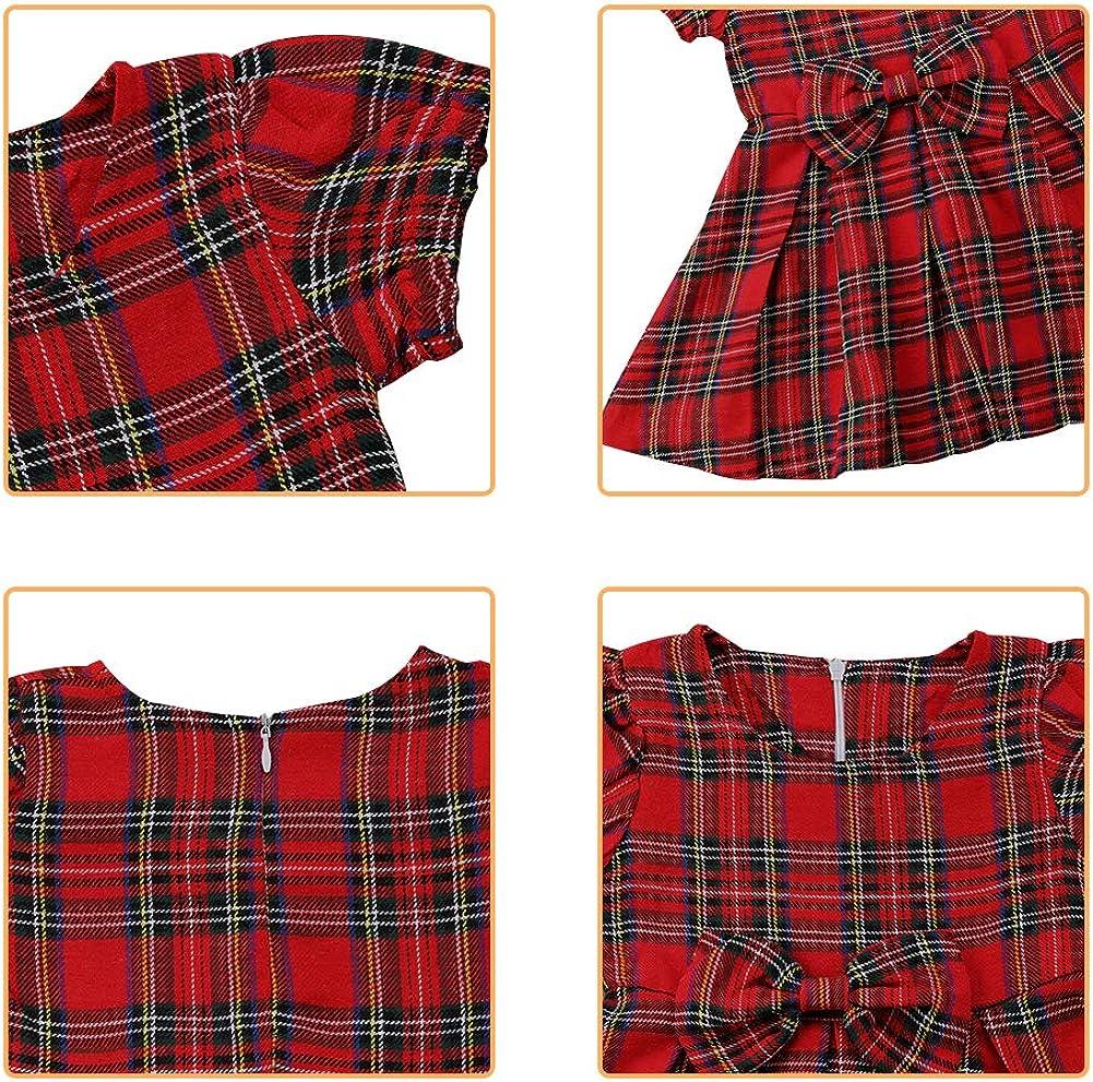 Fata Bambino Neonato Ragazze Tartan Vestito Bambino Rosso A Quadri Bowknot Vestiti Pieghe