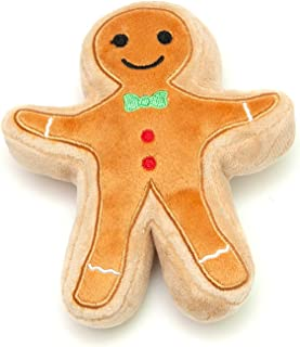 Midlee Christmas Sugar Cookie Plush Dog Toy (Gingerbread Man, Large)