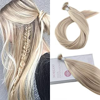 Moresoo Nano Tip Human Hair Extensions 22 Inch Hair Extensions Keratin Tip Color 18 Ash Blonde Mixed with 613 Blonde Bonded Hair Extensions