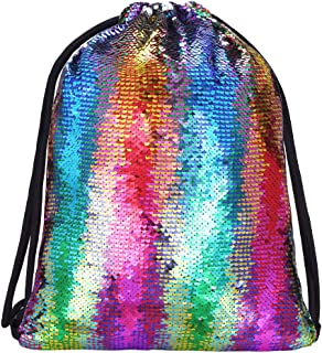 Alritz Mermaid Sequin Drawstring Bags Reversible Sequin Dance Bags Gym Backpacks for Girls Kids