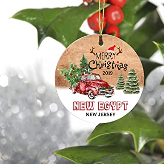 Merry Christmas Tree Decorations Ornaments 2019 - Ornament Hometown New Egypt New Jersey NJ State - Keepsake Gift Ideas Ornament 3