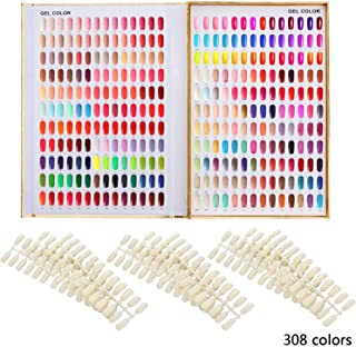 Makartt 308 Poly Nail Gel Color Chart Display Book Golden Nail Polish UV Gel Color Display Nail Salon Tools, A-13
