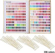 Makartt 308 Poly Nail Gel Color Chart Display Book Golden Nail Polish UV Gel Color Display Nail Salon Tools, A-13