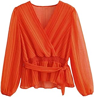 Comaba Womens Lace Up Detail Blouse V Neck Printed Long Sleeve Tees Shirt