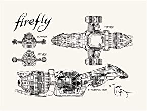 Inked and Screened SP_SYFI_SerenityBP_TW_24_K Sci-Fi and Fantasy Firefly Serenity Blueprint Print, True White-Black Ink, 18